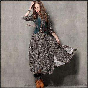 Fake Two Piece Vest Women Casual Dresses Print Ethic Style O Neck Split Woman Long Dress Free Ship 3 4 Sleeve 2021 Fashion