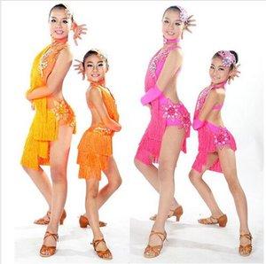 Child Latin Dance Dresses For Sale 6 Colors Cha Cha Rumba Samba Ballroom Tango Dance Clothing Kids Dance Costume Girls Dancewear