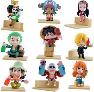 원피스 7cm Q 버전 Luffy 9pcs / lot PVC 일본 애니메이션 액션 피규어 완구 빌딩 블록 애니메이션 컬렉션 모델 인형 소년 선물