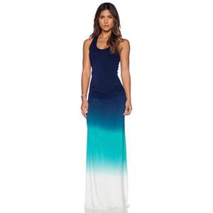 Women Summer Beach Boho Maxi Dress 2017 High Quality Brand Striped Print Long Dresses Feminine Plus Size Gradient Color Printing Dress