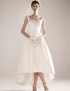 Новый дизайн одежды Высокие Низкие Свадебные Платья Бисероплетение Квадратная Шея Атласная Короткая Передняя Длинная Спина Свадебное Платье vestido de noiva W079