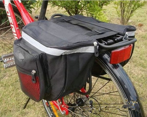 2016 New Waterproof Outdoor Black Cycling Bicycle Saddle Bag Bike Bags PVC and Nylon Waterproof Double Side Rear Rack Tail Seat Bag Pannier