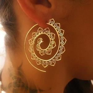 Ornato Swirl Hoop Gypsy indiano tribale etnico ciondola gli orecchini Boho orecchini per le donne Accessori gioielli regali