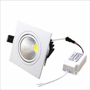 cree led light square Empotrable downlights led Dimmable Downlight COB 7W / 9W / 12W / 15W Led decoración de luz de techo AC85-265V