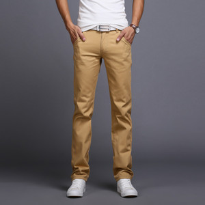 Wholesale-2016 Summer Men Business Casual Slim Fit Pants Mid-Waist Solid Trousers Fashion Mens Straight Cargo Pants Male Chino Lightweight