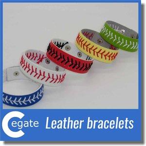 Sconti sui braccialetti di cucitura softball fastpitch gialli in vera pelle più economici con spedizione gratuita