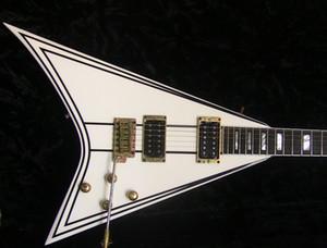 Пользовательский магазин Эксклюзивный Рэнди Rhoasts Rr 1.5 Электрические гитарные сливки с черной закреплением Gold Head Block Block MOP INLAY