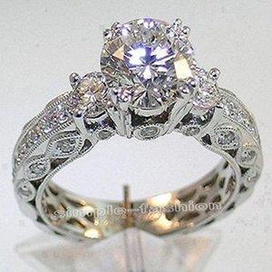 Atacado-Victoria Wieck mulheres jóias de noivado de três pedras Topázio de 7 mm de diamante simulado 10KT White Gold Filled Wedding Band Anel Sz 5-11