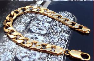 """도매 - 진짜 무료 배송 14K REAL YELLOW GOLD 귀족 MEN 'S 브레 슬릿 37g HOT 9 """"FIGARO CHAIN GF"""