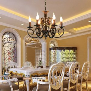 For foyer dinning room living room 6 arms chandelier vintages classical chandelier with black color LED candle pendant lamp light