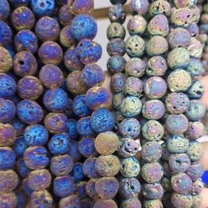 10 мм круглый Лава шарик AB цвет вулканический камень бусины золото серебро свободные бусины ремесло Diy материал браслет серьги ожерелье ювелирных изделий