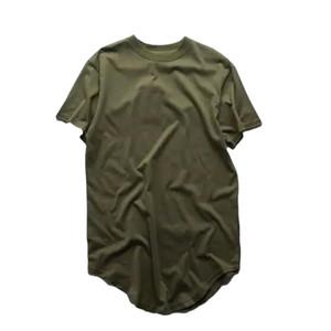 2016 Yeni Yaz Erkek Moda Genişletilmiş Gömlek Arc Cut Hi-Sokak Hip Hop T Gömlek% 100% Pamuk Kısa Kollu Adam Uzun Tişörtlerin