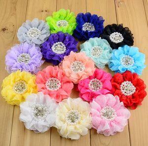 """3.5"""" perles en mousseline de soie en dentelle fleurs assorti strass Layered perles tissu fleurs bricolage artisanat fait main accessoires 32pcs / lot"""