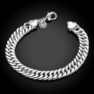 High quality 925 sterling silver plated chain bracelet 10MMX20CM Fashion Men's Jewelry Factory price free shipping