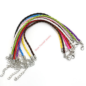 10pcs lot Chain Leather Bracelet Necklace Lobster Claps fit European Jewelry Making DIY Handmade Adjustable