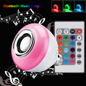 Lampada bluetooth musical lámpara inteligente bombilla led inalámbrica e27 rgb con altavoz globo de luz de festa jugar bombillas lámpara de música inteligente