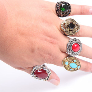 Wholesale Fashion bulk lot 10pcs mixed styles metal alloy gem turquoise jewelry rings discount promotion