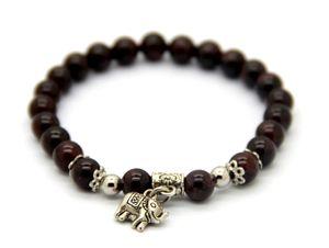 Fine Jewelry Atacado 10 pçs / lote Natural Onyx Garnet Contas de Pedra Semi-Preciosa Elefante Sorte Charme Pulseiras Presente da menina