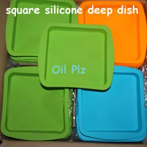 Atacado nova rodada e forma quadrada silicone food grade recipiente prato profundo, silicone prato profundo recipiente para alimentos / frutas / cera frete grátis