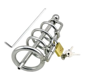 Male Stainless Steel Chastity Device Locking Cage with Urethral Catheter A061