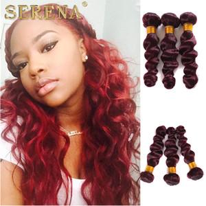 3 번들 Lot Burgundy Hair Weaves 99J 느슨한 물결 모양의 인간의 머리카락 확장 와인 Red Brazilian Hair Weave Wefts 10-30 ''Mixed Lengths
