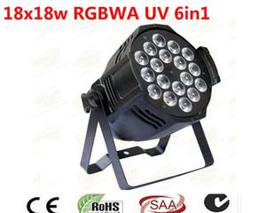 2PCS LED RGBWA UV 6IN1 18X18W LED الاسمية ضوء الألومنيوم الأسود الإسكان 90V-240V