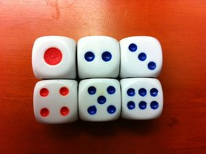 D6 15mm 6 Sided Normal Dice Bosons White Dice Red Blue Point Acrylic Drinking Games Casino Craps High Quality #N35