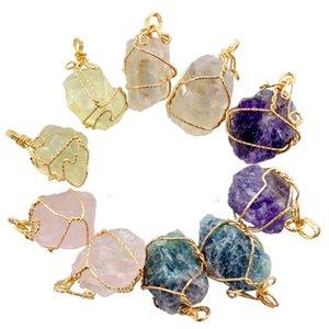 불규칙한 천연 크리스탈 마노 스톤 와인딩 펜던트 혼합 스타일 고품질 Druzy Gold Plated Statement Gemstone Charm