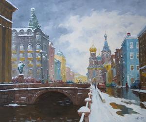 КАЗАНЬ BRIDGE. ПЕТЕРБУРГСКИЙ городской пейзаж на Александровске, расписанная абстракционизм картина масло на размере Высокого качества холста может настроить