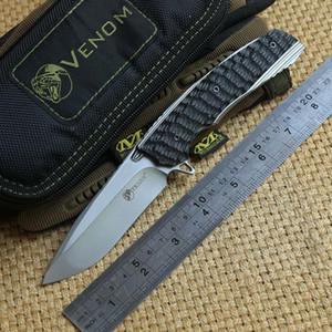 KEVIN JOHN VENOM 2 Roulement à billes flipper couteau pliant M390 lame Titane fibre de carbone poignée camping chasse survie couteaux tactiques outils