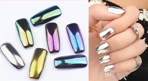 Prego colorido Glitter Pó Shinning Efeito Espelho Prego 2g Maquiagem Em Pó Poeira Nail Art DIY Chrome Pigmento Brilhos Com Duas Escovas