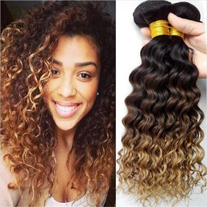 #1B 4 27 Honey Blonde Ombre Brazilian Hair Weaves Dark Roots Three Tone Human Hair Extensions Deep Curly Wave Virgin Ombre Hair 3Bundles