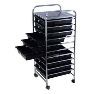 Panier de rangement à 10 tiroirs, noir