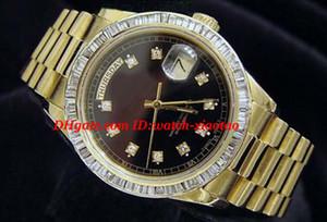 Orologi di lusso di alta qualità orologio da polso in oro giallo 18k Orologio con diamanti neri con castone 18038 Orologi da uomo automatici da uomo con cassa da 36 mm
