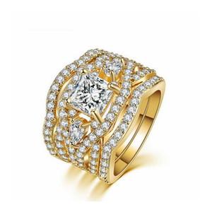 Forma classica Marquise Cubic Zirconia 3 anelli regolano l'oro del partito di colore di gioielli da sposa per il regalo donne R643 / R711