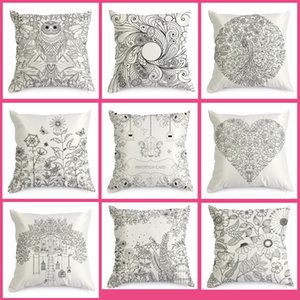 New Arrive Coloring Vintage Satin Cushion Cover Graffiti Pillow Case Home Decor 45cm*45cm Black Ground Hand Drawing Cushion Cover