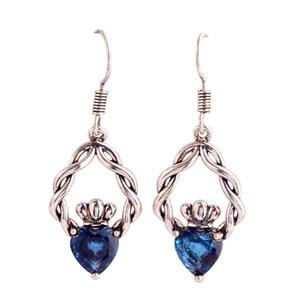 Eardrop Lab bleu argent plaqué balancent crochet boucles d'oreilles bijoux de mode femmes gros Livraison gratuite