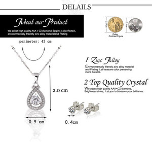 New Zinc Aolly jewelry sets High quality CZ diamind Pendant Necklace+Earrings sets with Austrian Crystal Water Drop Clavicle necklaces stud