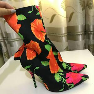2017 Promi Fashion Runway Schuhe Frau Punkt Zehe Drucke Samt Sexy Stiletto High Heels Fetisch Booties Satin Stretch Kurze Stiefeletten