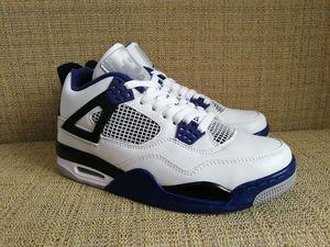 nuevo Motorsport para hombre zapatillas baratas zapatos de baloncesto 4 atlético 4 IV Blanco Negro Juego Royal Blue para hombre zapatos deportivos