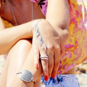 Folha quente Borla Mão Escravo Dedo Pulseiras Charms Moda Harness Pulseiras Mujer Bijoux Para O Presente Lotes 12 Pcs