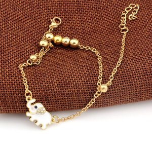 New Cute Charm Gold Ankle Bracelets Designer Beaded Anklets For Women Elephant Ankle Chain Jewellery