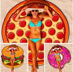 2017 Beach Shower Towel Blanket Round Yoga Mat Picnic Blanket Pizza Hamburger Donut Asciugamano in poliestere Spedizione gratuita
