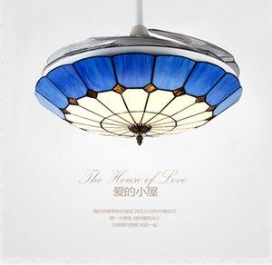Tiffany moda modern tavan avize fan lambası 42 inç avize fan ışık minimalist yatak odası Akdeniz avize fan