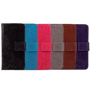 Pour Iphone 11 PRO X XS MAX XR 8 7 6 plus Samsung Galaxy HTC U11 J4 J6 NOTE 8 Portefeuille herbe Housse en cuir Bracelet chanceux Jardinière Clover Cover