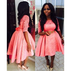 2019 Pink High Low Lace Vestido de fiesta de graduación más nueva africana Jewel Mangas cortas High Low Vestidos de dama de honor para ocasiones especiales por encargo