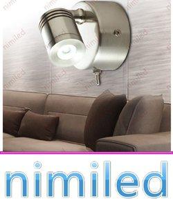 Nimi1025 Bed Headboard Lights 3W CREE LED Cromo / nichel spazzolato Finitura Lampada da parete con interruttore Hotel Residenziale Illuminazione per camper