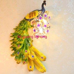 Amerikanischer Retro- kreativer Wohnzimmerhintergrund Schlafzimmer-Nachtgang Phoenix der europäischen einfachen modernen Persönlichkeit Phoenix Peacock-Wandlampe