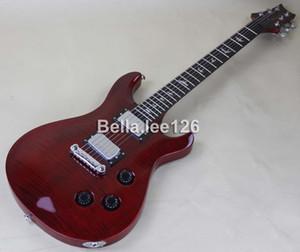 Tienda de guitarra instrumento de música, WIN RED tapa de arce de llama, pastillas de cera de cromo Paul Smith guitarra eléctrica, envío gratis