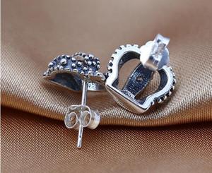 Royal Crown Stud Pendientes con Cubic Zirconia Auténticos 925 Sterling Silver Earings para Mujeres European DIY Jewelry Wholesale
